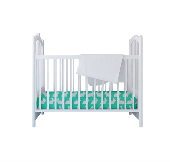 Bullabaloo Cot Sheet - Spearmint Rabbit - Caths Direct