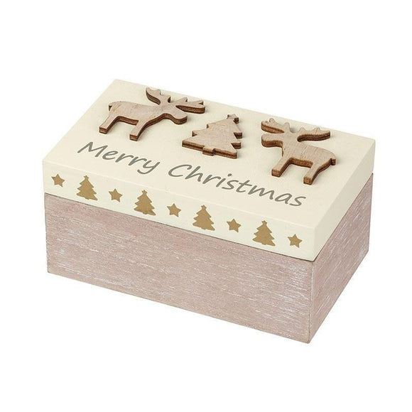 Wooden Merry Christmas Trinket Box - Caths Direct