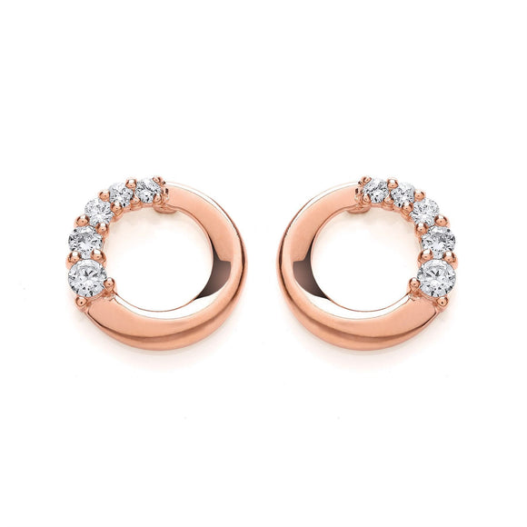 Rose Gold Plated Round CZ Earrings - Caths Direct