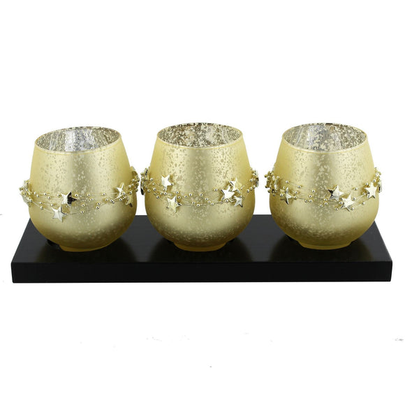 Golden Glass Triple Tealight Candle Holders on Black Wooden Plinthe - Caths Direct