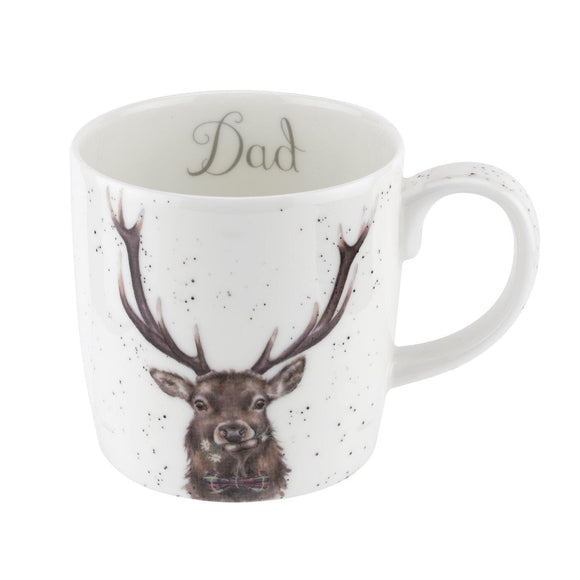 Royal Worcester Wrendale Design Stag Fine China Mug with Dad Sentiment - Caths Direct