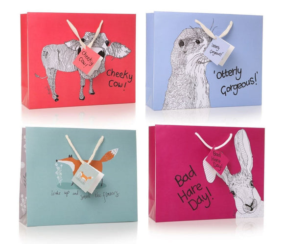 4 Assorted Large Gift Bags with Tags - Caths Direct