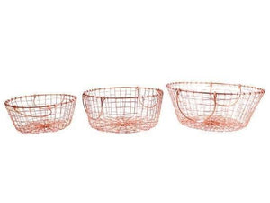 Set of 3 Copper Coloured Metal Storage Baskets - Caths Direct