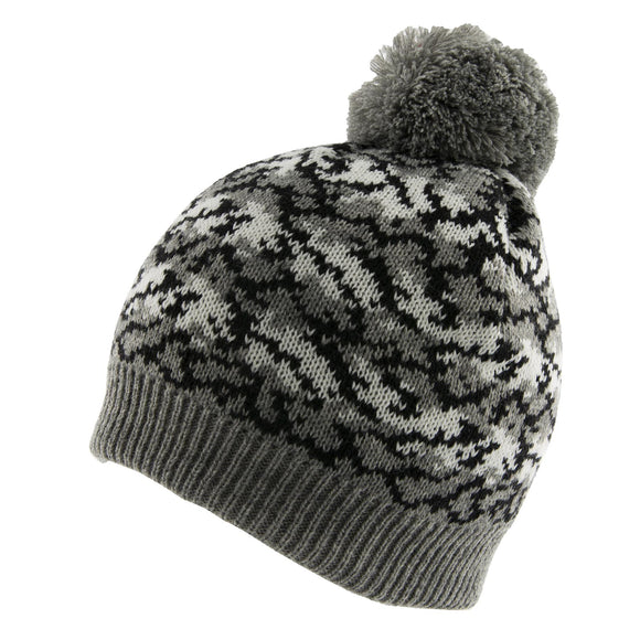 Dents Reptile Print Knitted Beanie Hat with Pom Pom in Charcoal Grey