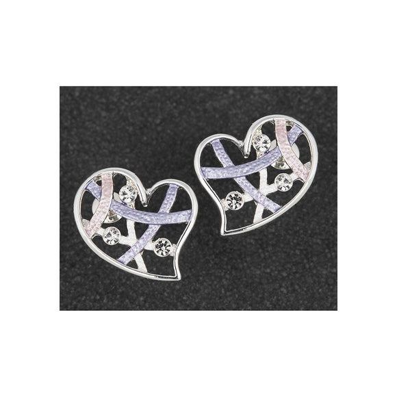 Hazy Tones Heart Earrings Clear Stones - Caths Direct