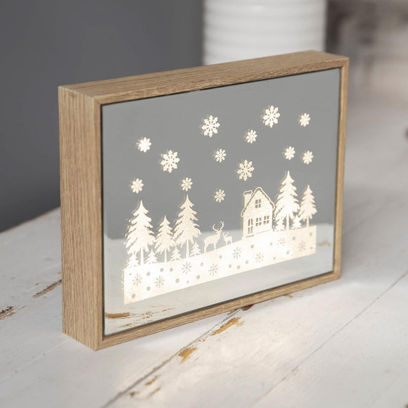 Christmas LED Light Up Mirror Glass Display
