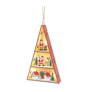 Yuletide Craft LED Triangle House Santa - Caths Direct