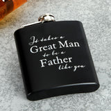 Black Stainless Steel 6oz Hip Flask - Father - Caths Direct