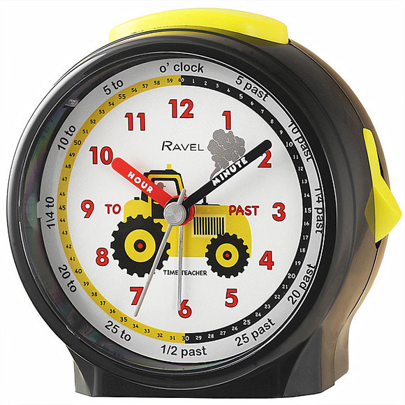 Ravel Kids Time Teacher Alarm Clock Black with White Tractor Design Dial - Caths Direct