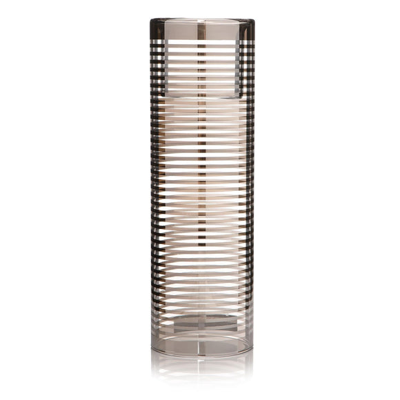 Twilight Mirror Glass Striped Tall Tea Light Holder 19cm - Caths Direct