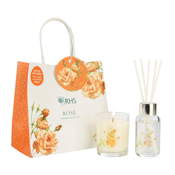 RHS Fragrant Garden Rose Gift Bag Wax Lyrical - Caths Direct