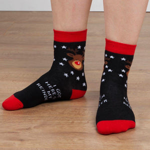 Kids Novelty Christmas Socks I Got Here On My Reindeer - Caths Direct