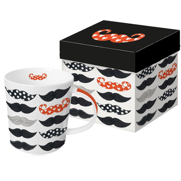 PPD Trend Mug Les Moustaches Pattern Boxed Gift Mug - Caths Direct