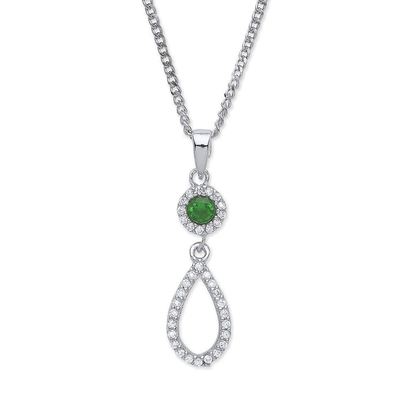 Purity Sterling Silver Green & White Cubic Zirconia Drop Pendant & Earring Set - Caths Direct