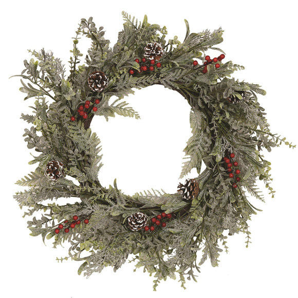 Large Christmas Wreath Pine Cones & Berries 60cm - Caths Direct