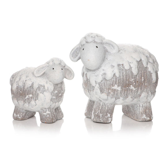 Pair of Frosted Sheep Ornaments