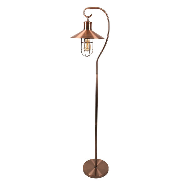 Copper Effect Edison Hook Floor Lamp - Caths Direct