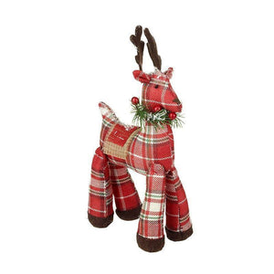 Red Tartan Christmas Reindeer - Caths Direct