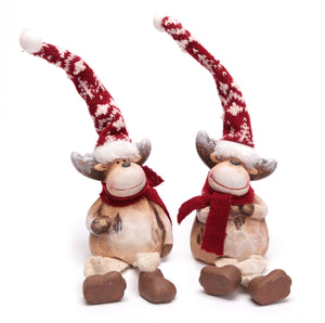 Ceramic Reindeers with Pointy Hats & Dangly Legs - Caths Direct