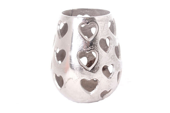 Silver Metal Effect Heart Candle Holder Lantern - Caths Direct