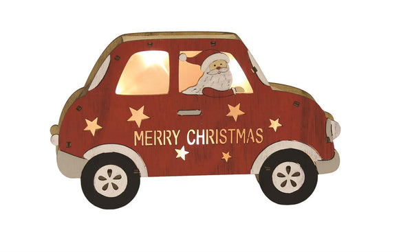 LED Santa in Red Wooden Car - Caths Direct