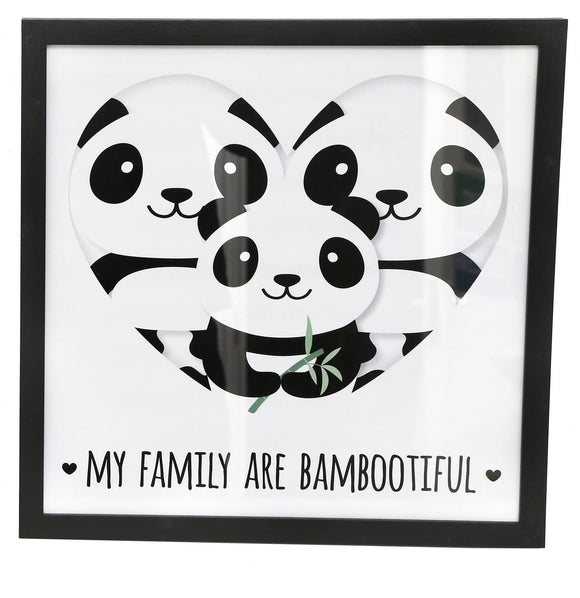 30cm x 30cm Panda Style Photo Print 'Bambootiful Family' - Caths Direct