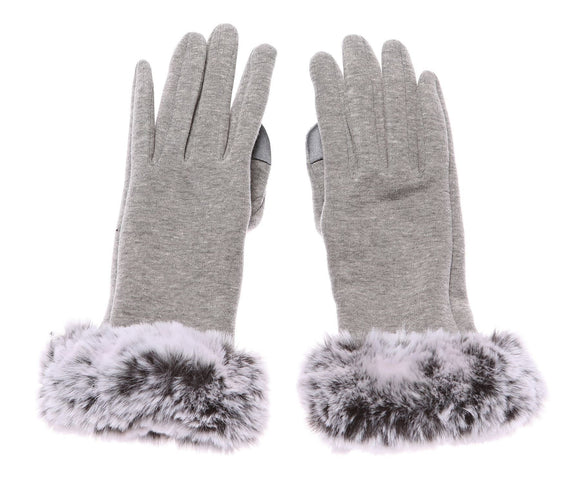Ladies Moira Grey Gloves Faux Fur Cuff - Caths Direct