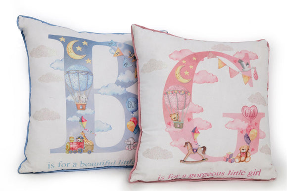 Baby Cushion Choice or Baby Boy or Baby Girl Design - Caths Direct