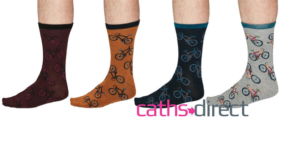 Mens Soft Bamboo Wesley Bicycle Socks Size 7-11 by Though - Caths Direct
