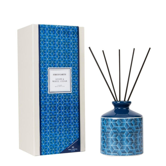 Fired Earth Assam & White Cedar Ceramic Reed Diffuser Set 200ml by Wax Lyrical - Caths Direct