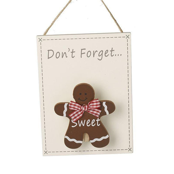 Festive Gingerbread Man Don't Forget Wall Hanging Memo Board - Caths Direct