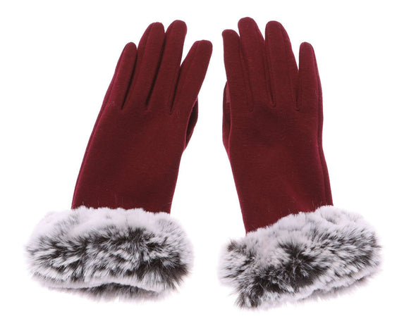 Ladies Red Gloves Grey Faux Fur - Caths Direct