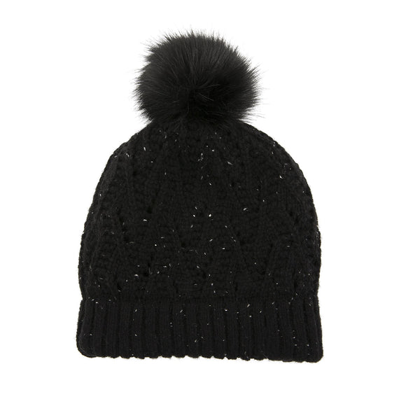 Dents Lace Knit Beanie Hat with Marl Yarn with Pom Pom in Black