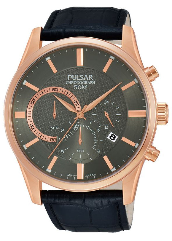 Pulsar Gents Rose Gold Plated Leather Strap Watch PT3 732 - Caths Direct