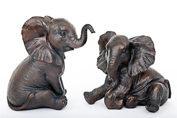 Bronze Effect Elephant Figurines Pair - Caths Direct