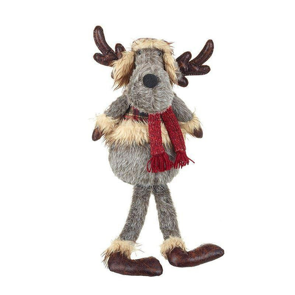 Furry Christmas Deer with Deerstalker Hat & Waistcoat Sitting - Caths Direct