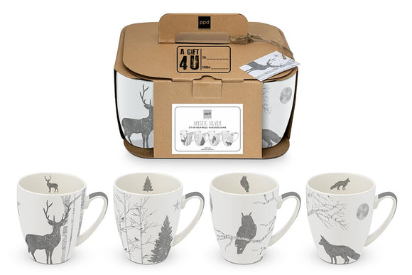 Mystic Silver Christmas Designs Set of Four Mugs with Real Platinum Finish - Caths Direct