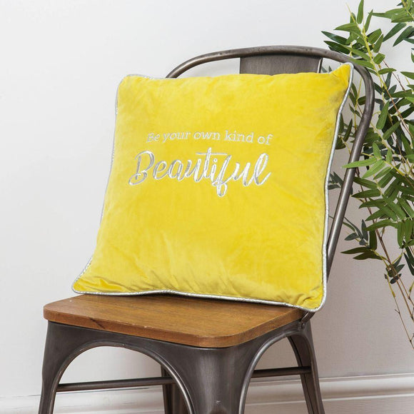 Yellow Velour Cushion Be Your Own Kind of Beautiful - Caths Direct