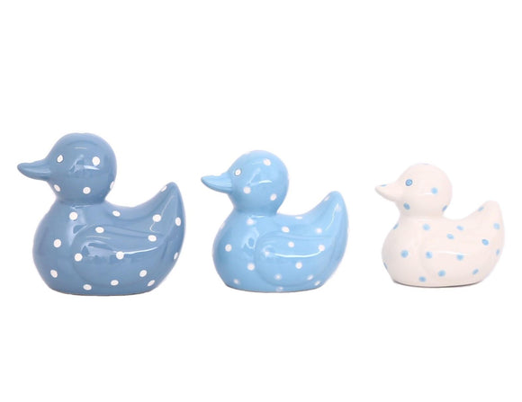 Set of 3 Ceramic Duck Family  Blue & White Polka Dot Ornaments