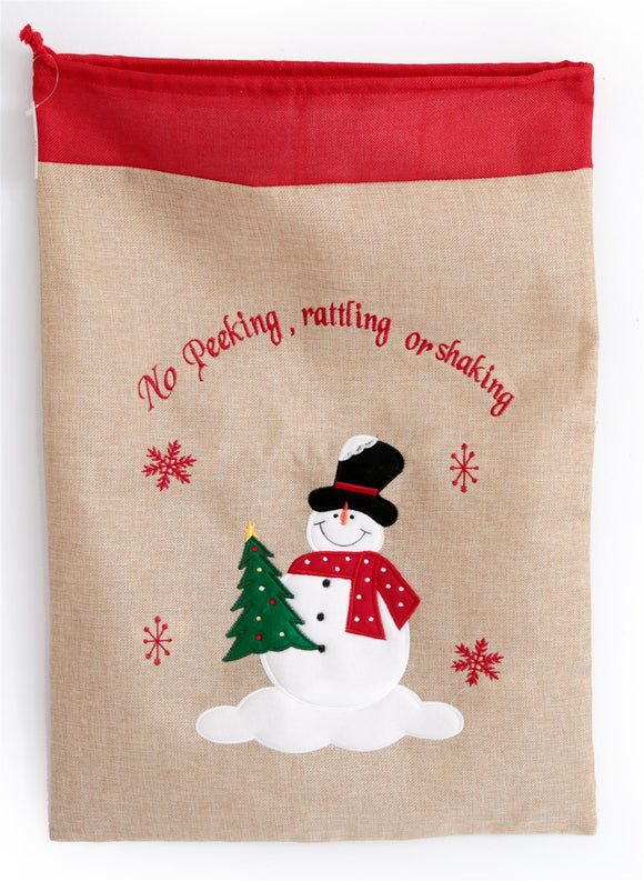 Christmas Santa Sack with Snowman Design