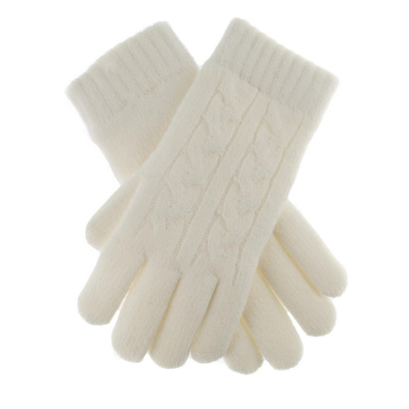 Dents Cable Knit Fleece Lined Gloves Winter White - Caths Direct
