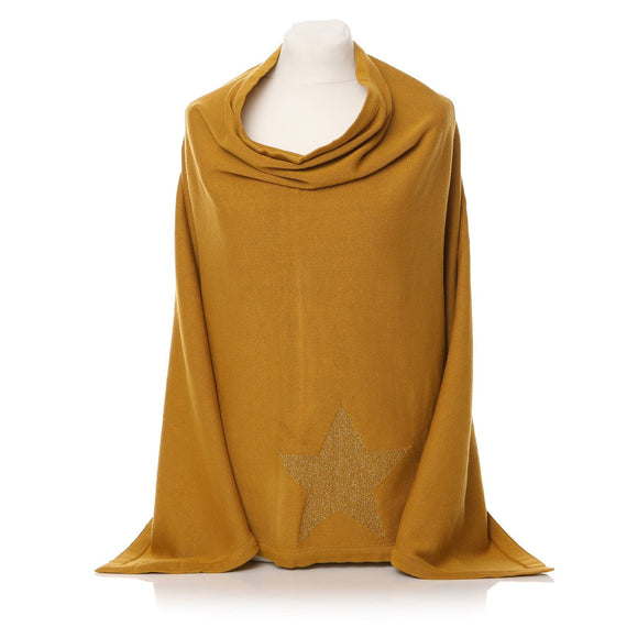Ladies Mustard Colour Poncho with Star Design - Caths Direct