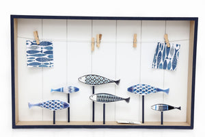Wooden Fish Hanging Peg Board