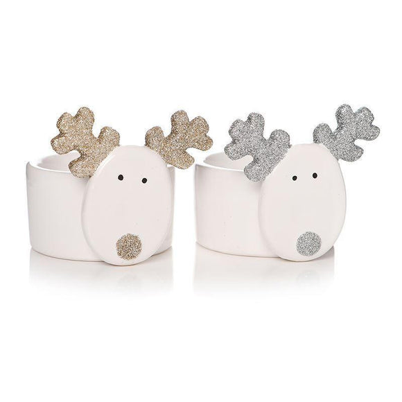 White Ceramic Reindeer Tea Light Candle Holder