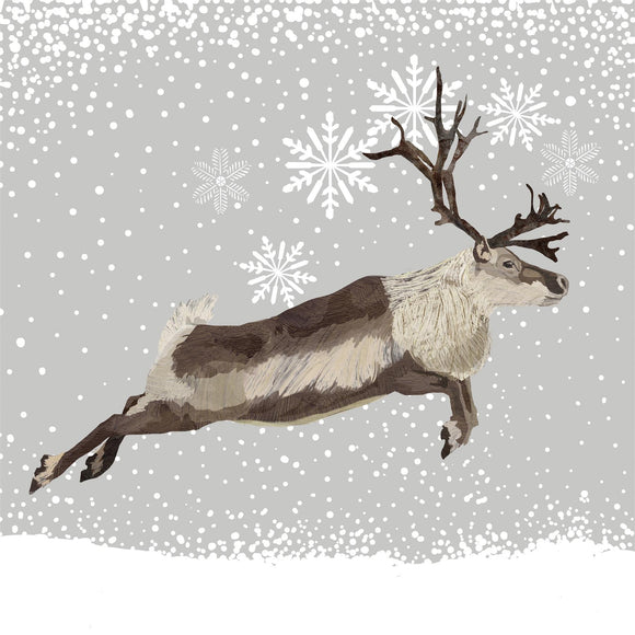 Snowfall Caribou Christmas Design Disposable Paper Napkins pack - Caths Direct