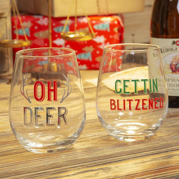 Christmas Tumbler Glass Set of 2 - Caths Direct