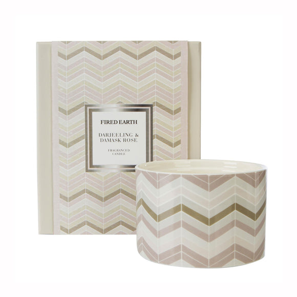 Fired Earth Design Large Ceramic Candle Darjeeling & Damask Rose - Caths Direct
