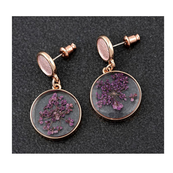 Eternal Flowers Rose Gold Plated Drop Earrings