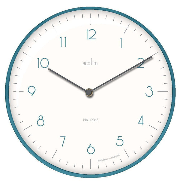 Bianca 30cm Domed Glass Wall Clock in Kingfisher