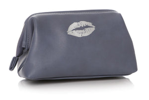 Ladies Silver Lips Design Cosmetic Bag Blue